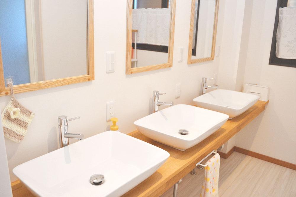 米沢女子短期大学・米沢栄養大学生 女性専用シェアハウス「ぴーちぇすハウス」洗面台兼脱衣所
